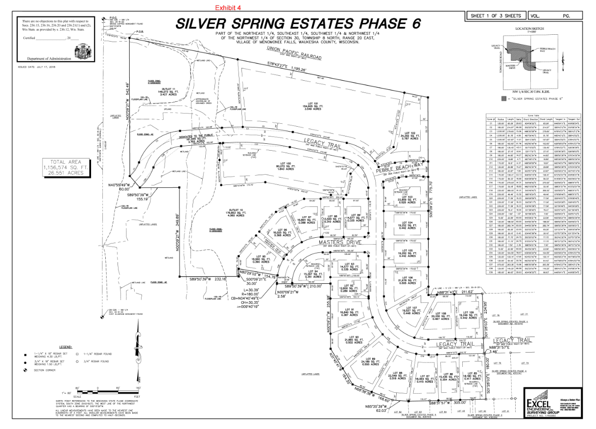 Silver Spring Estates VI Subdivision Map